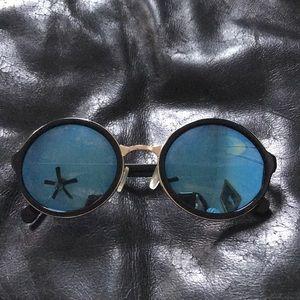 Nasty Gal Round blue sunglasses